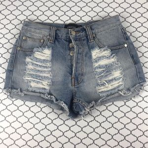 Minkpink distressed cheeky shorts | size medium